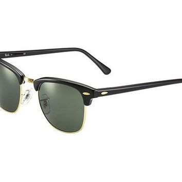 LMFNW6 Ray Ban Clubmaster Classic RB3016 W036591 Sunglasses Black Frame Crystal Green Solid Lenses