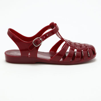 Burgundy Jelly Sandals