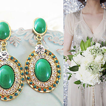 Vintage Style Emerald Rhinestone Bridal Earrings - Retro Weddings Earrings - Gold - Art Deco - Chandelier - Long Emerald Studs