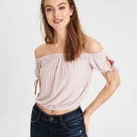 AE Soft & Sexy Striped Tie Sleeve T-Shirt , Mauve