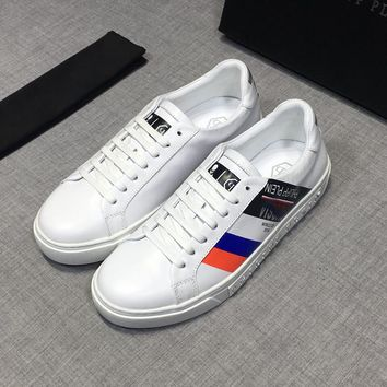 Philipp Plein White RUSSSIA Leather Low Top Sneakers - Best Deal Online