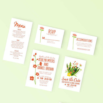 Printable Wedding Save the Date - Modern Bouquet of flowers Invite - DIY Digital Ready to Print Invitation
