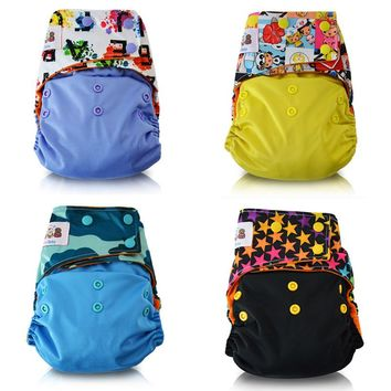 JinoBaby Cloth Diaper Stay Dry Baby Diapers Washable One Size Pocket Diaper for nb to 35lbs(with Insert)