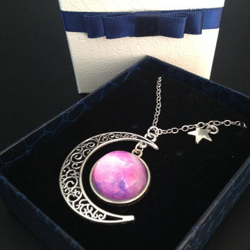 pink nebula necklace,Moon Galaxy Necklace,crescent moon necklace,Space Jewelry,sailor moon cosplay,sailor moon pink