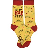 Is It Taco Time Yet Socks in Yellow with Taco Design