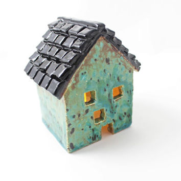 Unique Ceramic House Candle Holder - Rustic Decor - Candle Holder