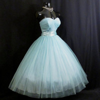 Vintage 1950's 50s STRAPLESS Bombshell Fred Perlberg Turquoise Blue Tulle Taffeta PROM Party Wedding Dress