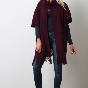 Cowl Neck Open Front Fringe Poncho