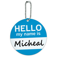 Micheal Hello My Name Is Round ID Card Luggage Tag
