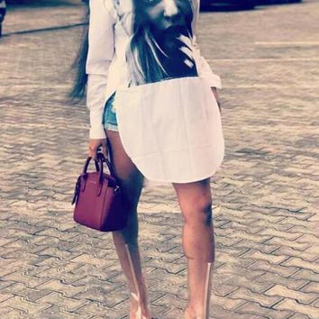 New White Figure Pattern Irregular Side Slit High-low Casual T-shirt Mini Dress