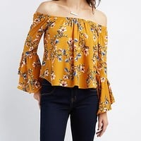 Floral Off-The-Shoulder Bell Sleeve Top