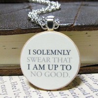 Harry Potter I Solemnly Swear... Marauders Map Inspired Necklace   TheWanderingReader - Jewelry on ArtFire