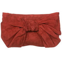 Terracotta Oversized Bow Suede Clutch Bag