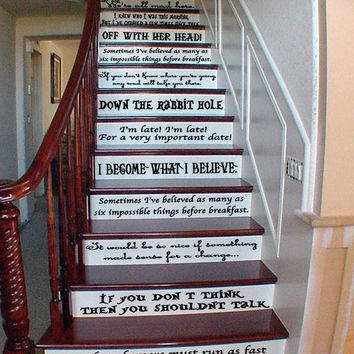 Alice In Wonderland Quote Set Wall or Stairs Decal Large Variety Quotes