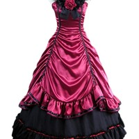 Gothic Victorian Red and Black Sleeveless Lolita Bow Dress