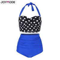 JOYMODE Two Pieces Retro Polka Dot High Waist Bikini Swimsuits Underwire Halter Neck Plus Size M 3XL Women Swimwear