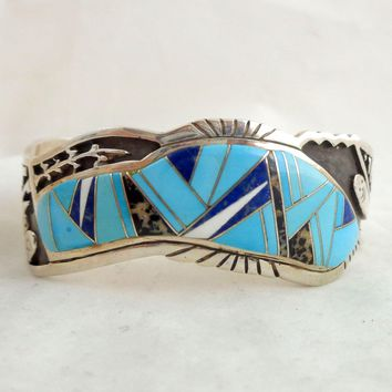 Native American Navajo CALVIN BEGAY Sterling Silver Multi Stone Inlay Cuff Bracelet