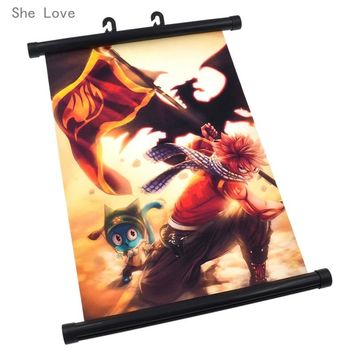 She Love Japanese Anime Fairy Tail Natsu Dragneel Wall Scroll Home Decor Cosplay Poster