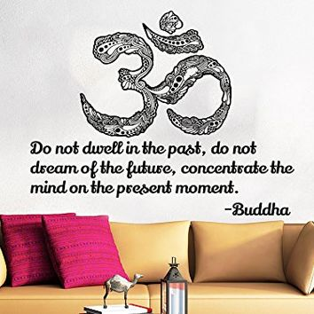 Wall Decals Quotes Vinyl Sticker Decal Quote Lotus Flower Yoga Buddha Do Not Dwell In The