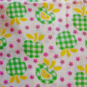 Vintage 1970s Fabric Fruit Green Check Apples Cotton Sewing Fabric Tiny Pink Flowers