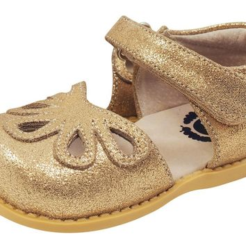Livie & Luca Girl's Leather Mary Jane with Light Gold Trim, Gold Shimmer