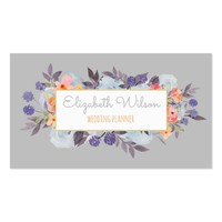 winter colors watercolor flowers on grey business card