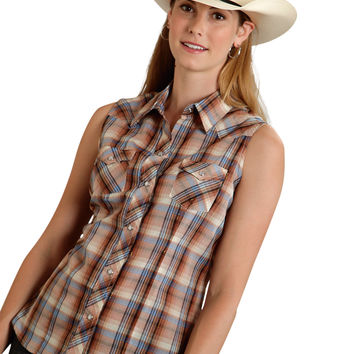 Roper Ladies 9742 Multi Brown Plaid W/ Lurex Poly Cotton 55/45 Plaids Sleeveless Shirt Snap Closure - 2 Pocket