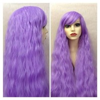 Little Lilac, Crimped Wavy Extra Long Violet Lavender Purple Lolita Cosplay Wig