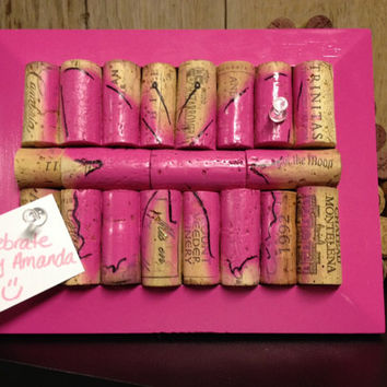 Pink Butterfly Wine Cork Board