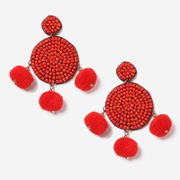 Red Pom Pom and Bead Earrings - Shop All Sale - Sale