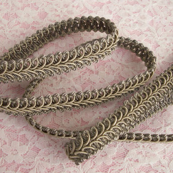 "2 YARDS, Grey, Woven Braid Gimp Trim, 1/2"" wide,Home Decor,Embellishments,Upholstery,   Decorative Pillows,Lamp Shade Trim,Scrapbooking"