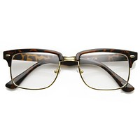 Classic Square Vintage Clear Lens Half Frame Horned Rim Glasses 9185
