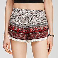 Crochet-Trimmed Floral Shorts