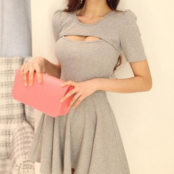 Gray Sheath Above Knee Sexy Womens Cotton Plain Dresses 023-140604010 = 1958434180