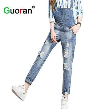 {Guoran} Ripped Stone Wash Denim Overall Jeans Women Wear Vintage Sleeveless with Pockets Jumpsuits boyfriend destroyed jeans