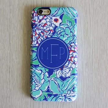 Blue Flowers Monogram iPhone 6 Case iPhone 6 plus Case Custom Initial iPhone 5S Case iPhone 5C Case iPhone 4S Case Galaxy S6 S5 S4 Case 062