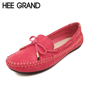 HEE GRAND Casual Bowtie Loafers Sweet Candy Colors Women Flats Solid Summer Style Shoes Woman 4 Colors Plus Size 35-41 XWD2263