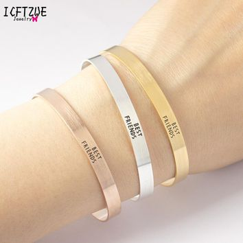 ICFTZWE Famous Brand Jewelry Hand Accessories For Women Stainless Steel Pulseiras  Gold Simple Best Friends Bangle
