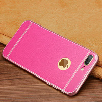 "Luxury Hot Pink Litchi Grain Soft TPU Back Cover Case For iPhone 7 4.7"" 7 Plus 5.5"""