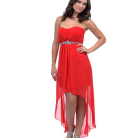 2014 Prom Dresses - Red Chiffon Pleated Strapless Sweetheart High-Low Dress