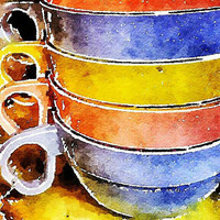 Colorful Watercolor Cups