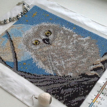 AUGUST SALE -50%  Beads embroidery of little cute owlet, wildlife wall decor, picture of a bird, best gift, not framed