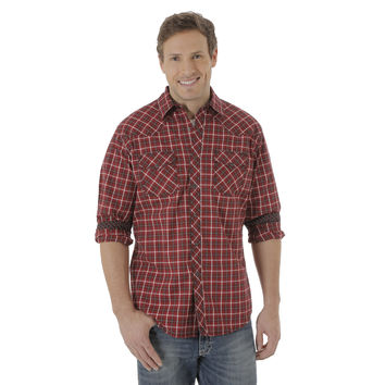 Wrangler 20X Mens Western Snap Long Sleeve Plaid Shirt