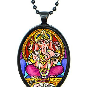 Lord Ganesh God Intellect Wisdom Huge 30x40mm Amulet Talisman Black Pendant with Chain Necklace