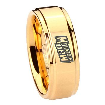 8MM Glossy Gold Step Edges Mountain Dew Tungsten Carbide Laser Engraved Ring