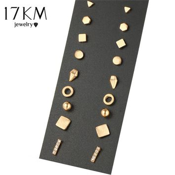 17KM New 9 Pairs/set Brincos Geometric Crystal Stud Earrings Piercing Gold Color Fashion Earring For Women Bijoux Jewelry