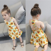Infant Baby Girls Sunflower Print Sleeveless Backless Floral Dress Outfits Fashion Mall