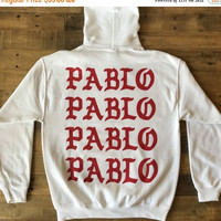 BLACK FRIDAY SALE Pablo Pablo Pablo Paris Pop Up Shop Rare White Hoodie / I Feel Like Pablo Tour / Yeezy Merch / Free Shipping