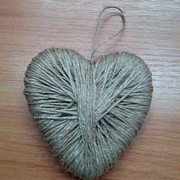 Heart shape ring pillow, Rustic ring holder, Jute ring bearer pillow, Rustic wedding decor, Rustic ring bearer pillow, Heart ring holder