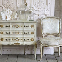 SOLD Vintage Country Commode in White and Gilt Highlights - $970 - The Bella Cottage